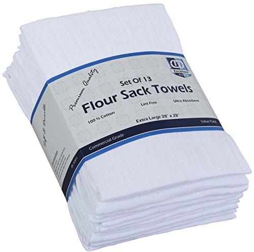 Flour Sack Kitchen Towels (Optical White, 13 Pack) , 100% Cotton 28 x 28 Inches Cloth Napkins, Multi Purpose Kitchen Dish Towels By Excellent Deals