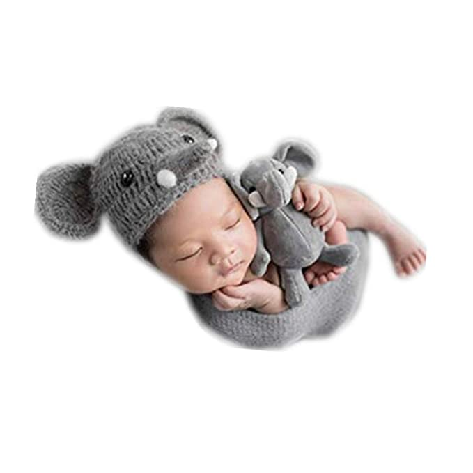 Coberllus Newborn Baby Photo Props Outfits Crochet Knitted Elephant Hat  with Blanket for Boys Girls Photography Shoot