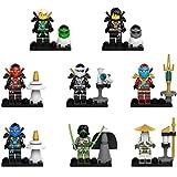 Maykid Ninja Set of 8 Ninja Minifigures with Ninja Weapons, Lego-Compatible