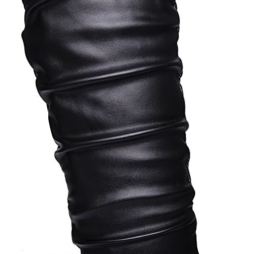 AllhqFashion Mujeres Tacón ancho Sólido Puntera Redonda Sin cordones Botas Negro