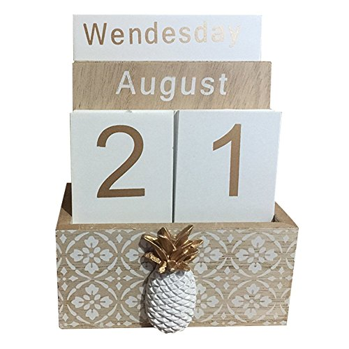 Lzttyee Wooden Perpetual Calendar Desktop Calendar for Home Office Decoration -