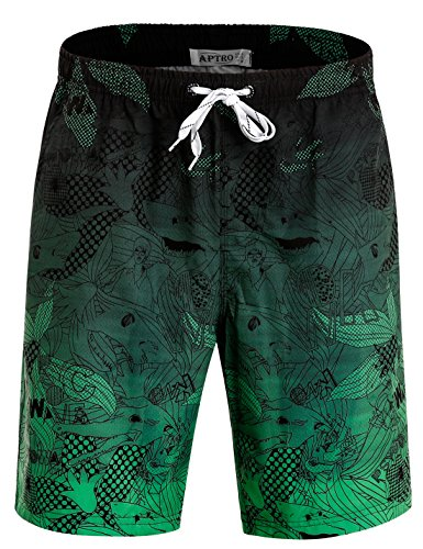 APTRO Men's Swim Trunks with Pockets Quick Dry 4 Way Stretch Shorts HWP023 L ()