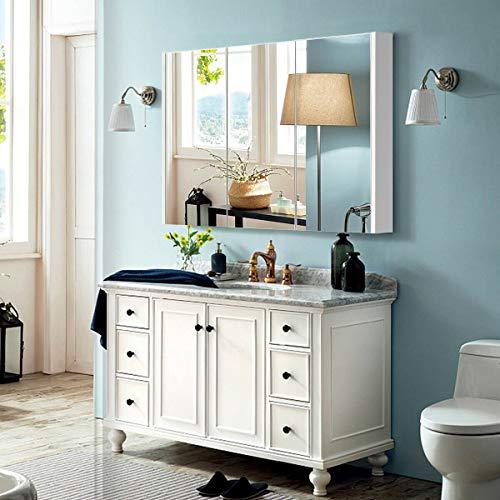 Wall Mount Toilet Mirrored Cabinet Hanging Medicine Storage Shelf Triple Mirror Door -
