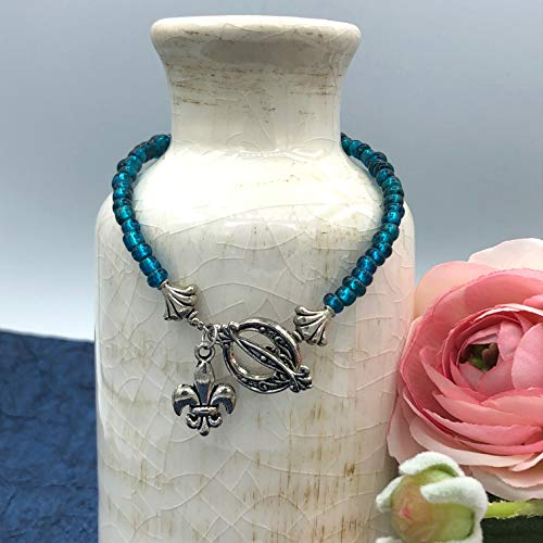 Women's Beaded Bracelet AQUA with Fleur De Lis Charm