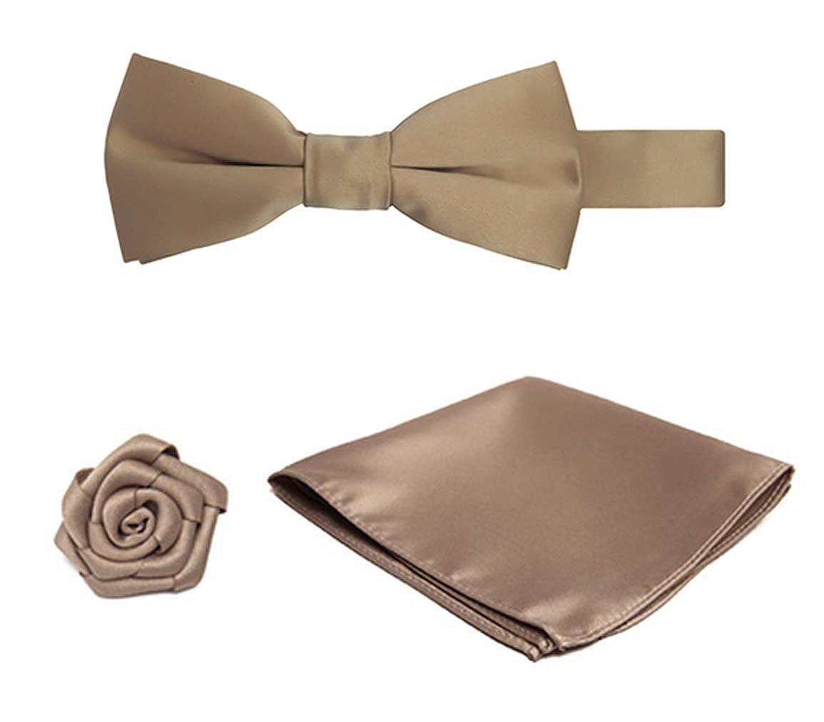 Boys Pretied Banded Bowtie Hanky Open Rose Lapel Flower 3 pc Set KIT026-005