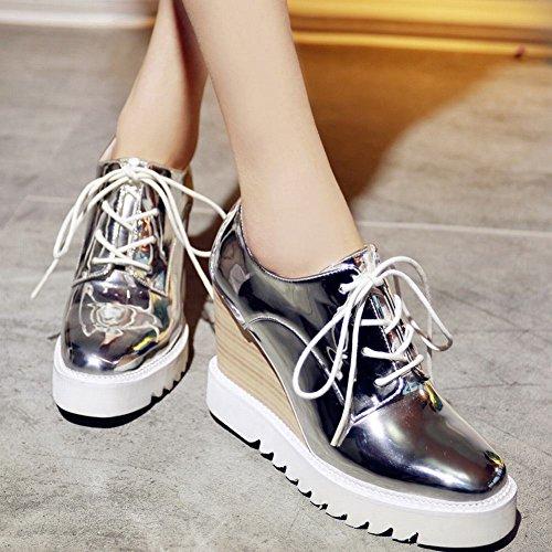 Latasa Womens Fashion Lace-up Platform Oxford Wedges Shoes Silver 6tWlCPbMAT