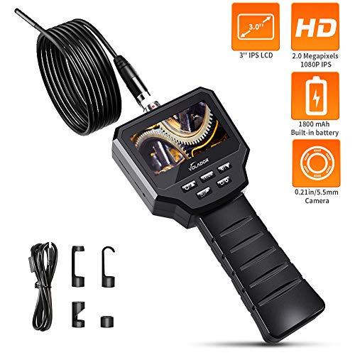 VOLADOR Handheld Endoscope 3.0 inches LCD Screen, 1080P 2.0MP HD Borescope Camera, Industrial Endoscope Camera, 5.5mm Waterproof Snake Camera, Vehicle Engine Pipe Sewer Inspection Camera - 9.8ft (1080p Inspection Camera)