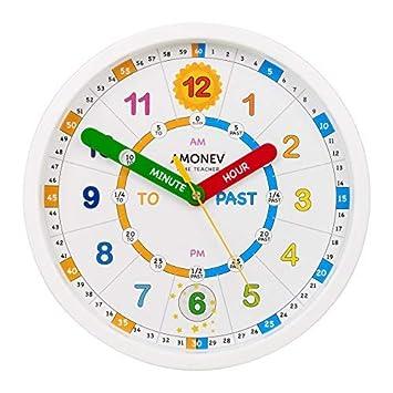 Amonev Reloj de Pared Time Teacher, enseña a los niños a Leer y Decir la Hora al Instante con Este Reloj de Movimiento silencioso, Blanco, 28cm Diameter: ...