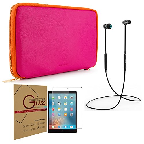 Case Shield Protector Magenta (Protective Travel Sleeve Storage Compartments + Tempered Glass Screen Protector + Black Headphones Apple iPad 1, 2, 3, 4, 5th Gen, 6th Gen, Air & Air 2)
