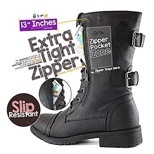 Minetom Femmes Bottines Militaire Fermeture Éclair Lacets Bottes de Combat Automne Hiver Chelsea Bottes Chaussures… 3