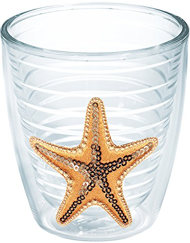 Tervis 1162769 Starfish-Sequin Insulated Tumbler with Emblem, 12 oz, Clear