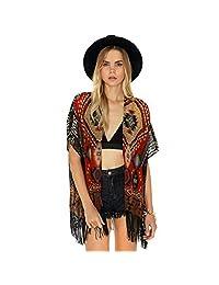 Coromose Geometry Printed Tassel Chiffon Shawl Kimono Cardigan Tops Cover up Blouse