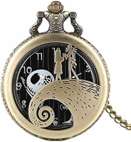 Men Women Pocket Watch, Pumpkin King Santa Skull Retro Pocket Watch, A Christmas's Gift