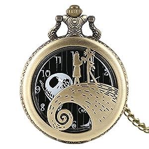 Men's Pocket Watch, Pumpkin King Santa Skull Retro Pocket Watch, A Christmas' Gift