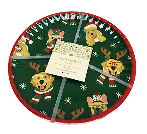 Festive Holiday Animals in Christmas Winter Attire Set of 6 Holiday Melamine Dinner Party Plates (Green, Multi Dogs)