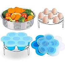 3 Pcs Instant Pot Accessories Set for 5,6,8Qt Instant Pot Pressure with Steamer Basket/Egg Steamer Rack/Silicone Egg Bites,Great Gift Idea