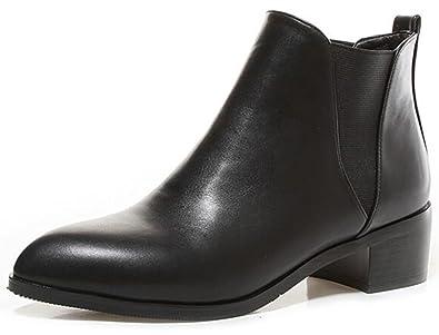 eb44aa70061 Summerwhisper Women s Sexy Plain Pointed Toe Elastic Chelsea Boots Shoes  Block Low Heel Slip on Short