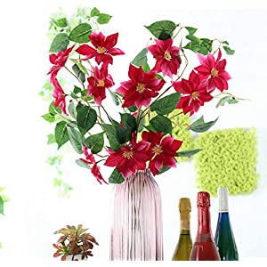 Skyseen 5Pcs Artificial Flowers Clematis Florida Thunb Fake Clematis Florida Plants Wedding, Room, Home, Hotel, Party Decoration (Rose) 65
