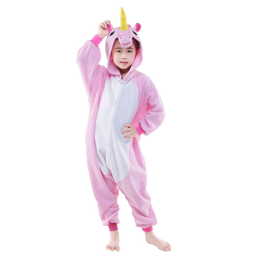 NEWCOSPLAY Unisex Children Unicorn Pyjamas Halloween Costume (8-Height 51-54'', New Pink Unicorn)