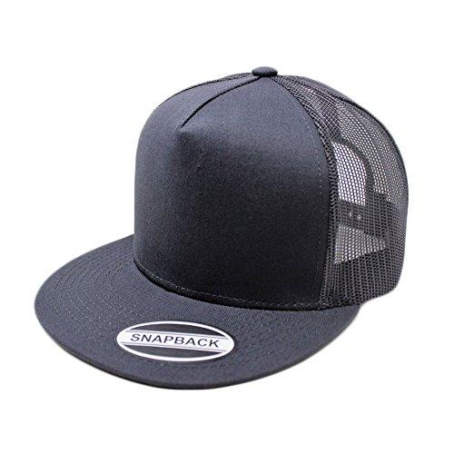 (GREAT CAP Blank Trucker Hat - Classic Flat Bill Visor Baseball with Mesh Snapback for Hot Weather, Summer, Outdoor, Running, Car Driving, Vacation, Fishing, Sport, Daily - Dark Grey/Black)