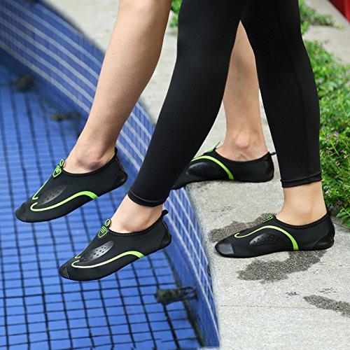 Unisex Frauen Männer Flexible Barfuß Haut Schuhe Surf Aqua Beach Wasser Socken Sport Fitness GYM Yoga Schwimmen Pool Wasser Trainer Turnschuhe Schuhe Schuhe zum Schwimmen, Laufen, Schnorcheln, Surfen, # 2 Schwarz