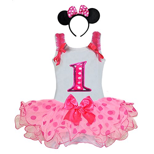 Birthday Girl Age Number Tank Top, Hot Pink-pink Polka Dot Tutu, Headband Outfit (Age 1 PP1H) (Minnie Outfit)