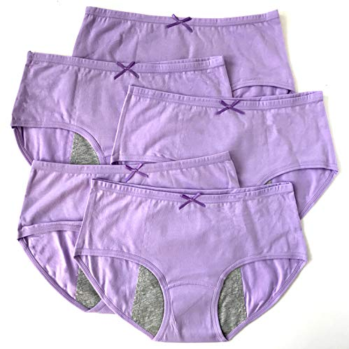 Luna Cup Menstrual Underwear Breathable Period Panties Postartum Inconvience Panty, Pack of 5, for Women Girls (M/L, 5 Purple) ()