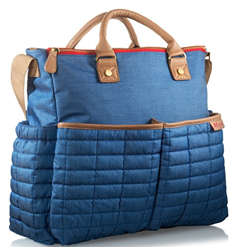Diaper Bag- by Maman - with Matching Changing Pad - Stylish Designer Tote for Moms - for Baby Boys and Girls - Patented (One Size, Denim) (Pad Changing Denim)