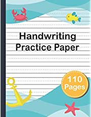 Handwriting Practice Paper: Blank lined Pages With Dotted Middle Lines To Practice Writing For Young Kids.
