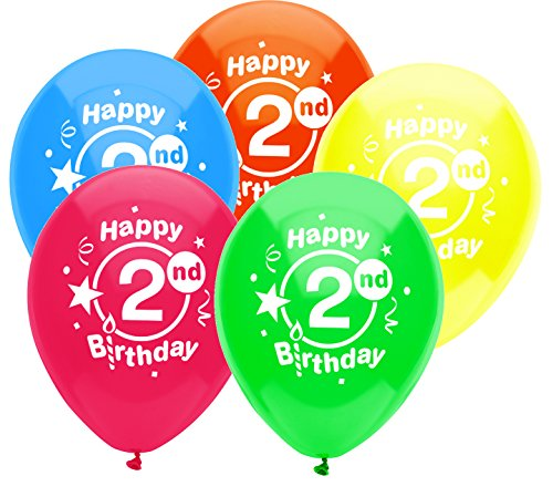 Birthday Printed Latex Balloons (PartyMate 24592 Printed Latex Balloons, 8 CT, 2ND BIRTHDAY PARTY)