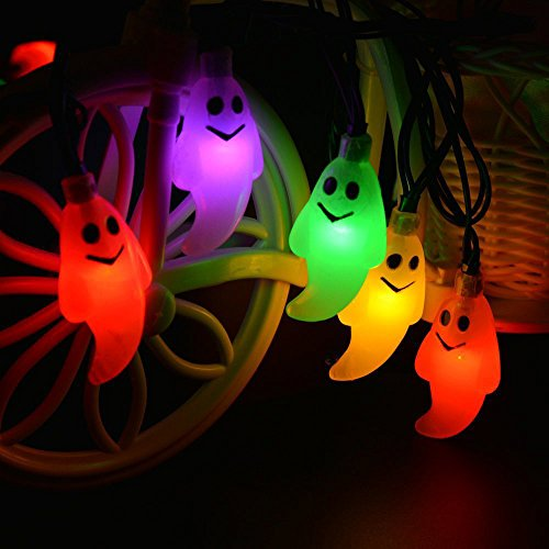 Halloween String Led Lights,Crytech Jack O Lantern 10 Battery Powered Operated Ghost Hanging Lantern Lamps for Indoor Outdoor Party Holiday Yard Patio Mantle Decorations Decor (Multicolor)