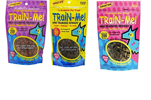 Crazy Dog MINI Train-Me! Training Reward Dog Treats 3 Flavor Variety Bundle: (1) Bacon Flavor, (1) Chicken Flavor, and (1) Beef Flavor, 4 Oz. Ea. (3 Bags Total) (Me Train Crazy Dog)