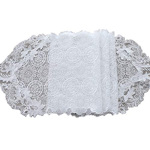 - MNS Lace White Table Runner,Table Runners for Table TV Cabinet Shoe Bed(30x150cm) (Color : White, Size : 30x250cm)