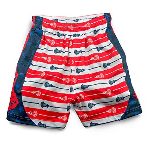 Premium Lacrosse Athletic Shorts | Patriotic Stars & Stripes | Youth Medium