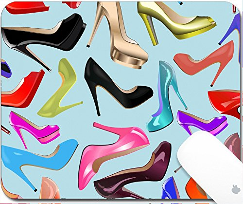 (Luxlady Gaming Mousepad 9.25in X 7.25in IMAGE: 38684370 seamless background illustration of fashionable women s shoes)