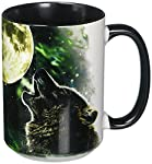 The Mountain 57205309001 Three Wolf Moon Coffee Mug, 15 oz, Black