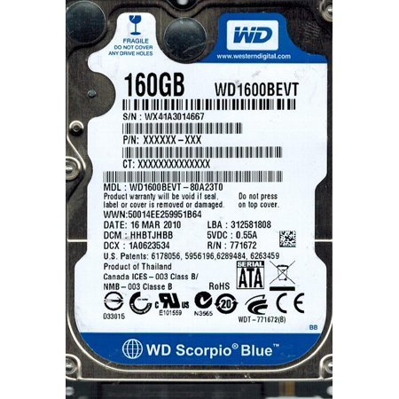 WD WD1600BEVE Western Digital Scorpio Blue 160GB 5400RPM PATA IDE Laptop Hard ()