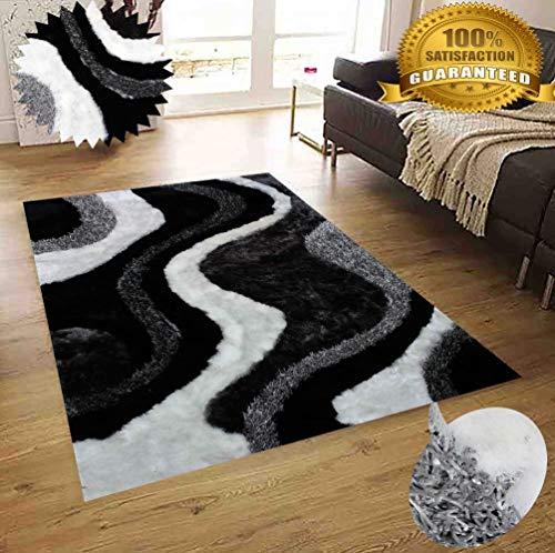 - Gray Grey Black Charcoal Off White Shaggy Shag Area Rug 8'x10' Verse Modern Contemporary Design High End Designer Quality Flokati High Pile Soft Plush Living Room Bedroom Signature New 72 Black White
