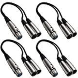 SEISMIC AUDIO - SA-Y2 - 4 Pack 1' Splitter Patch Cables - 1 XLR Female to 2 XLR Male