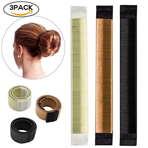 3 PCS Hair Styling Donut Bun Maker Tool, Hair Band Accessory, Hair Bun Shapers Curler Roller for Women Girls DIY Hairstyle Tools (Halloween Updo Hairstyles)