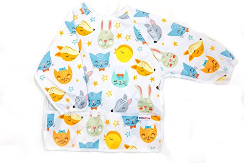 Pikababy Long Sleeved Bib Waterproof Bibs with Pocket - 6 to 24 Months Baby Girl and boy Colors (Fox Cat Rabbit)