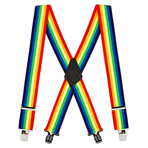 Suspender Store Mens Rainbow Striped Clip Suspenders - 2 Inch Wide (Suspenders Rainbow)
