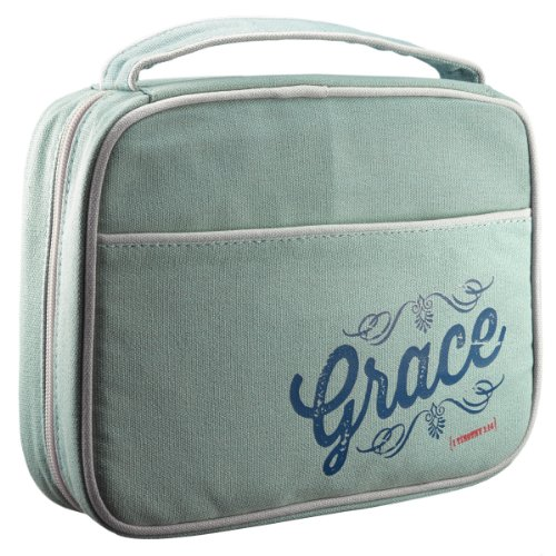 "Retro Blessings ""Grace"" Washed Cadet Blue Canvas Bible / Book Cover (Medium)"