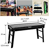 CERCHIO BBQ Grill Portable Large Charcoal Barbecue Grills for 4-6 People,Metal Folding BBQ Grilling for Indoor Outdoor Campers Picnic Camping Backyard Beach Hiking Size 23.7x8.7x12.6 Inch