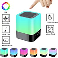 Aisuo Bluetooth Speaker - Bedside Lamp with Dimmable Night Light, 12/24H Digital Calendar Alarm Clock, Touch Control & 4400mAh Battery, Support TF and SD Card, MP3, the Best Gift for Kids and Friends