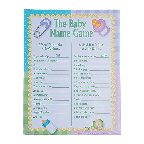Fun Express - Baby Shower Baby Name Game (2dz) for Baby - Toys - Games - Indoor & Mini Game Sets - Baby - 24 -