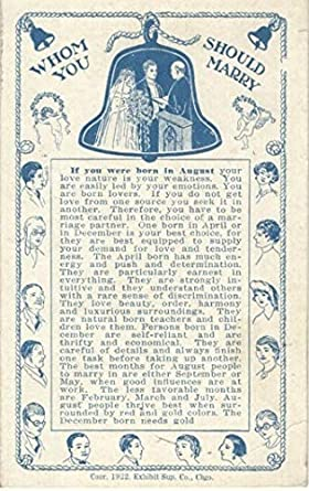 Whom Should You Marry Arcade Fortune Teller Card: If You Were Born in  August, Dated 1922 by Exhibit Sup  Co, Chgo