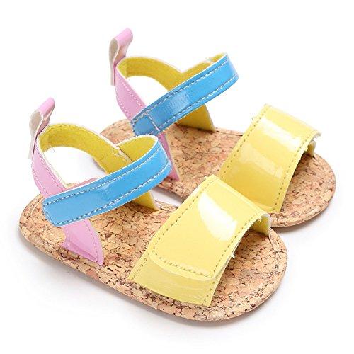 Sandalias De Bebe,BOBORA Prewalker Zapatos Primeros Pasos Para Bebe Color Que Cose La Sandalia De La Princesa Del Bebe amarillo