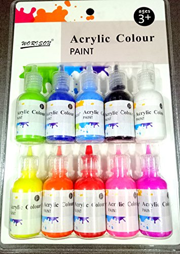 69b5b91deacb Asint Acrylic Color Paint Bottles of 10 Pc for Drawing & Art Purpose