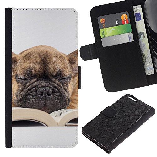 Be Good Phone Accessory // Caso del tirón Billetera de Cuero Titular de la tarjeta Carcasa Funda de Protección para Apple Iphone 6 PLUS 5.5 // Pug Book Sleepy Dog Teacher Librarian Ca